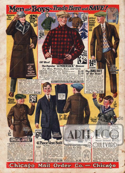 Herrenwintermode für Groß und Klein. Legere Mäntel, Holzfällerjacke und Anzüge.