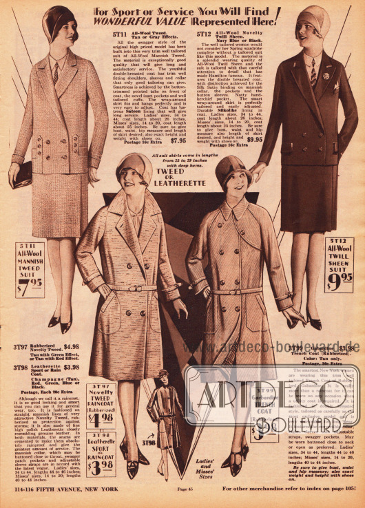 Oben zwei herrenmäßig geschneiderte Damenkostüme aus Woll-Tweed und anderem Wollgewebe, die passend sind für Sport, Arbeit oder auch für die Straße. Die Kostümjacke des linken Modells zeigt einige Zierknöpfe, die Kostümjacke rechts leicht schimmernde Einfassborten. Unten befinden sich zwei Regenmäntel entweder aus gummiertem Woll-Tweed oder Lederimitat sowie Gabardine. Das Modell rechts ist ein klassischer Trenchcoat für Damen, der zu jeder Jahreszeit getragen werden kann.