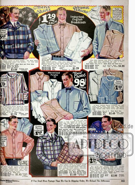 Elegante Anzughemden in unterschiedlichen Farben und Mustern aus Seidenmixstoffen, Breitgewebe und mercerisierter Baumwolle mit und ohne Kragen. Des Weiteren sind hier auch Sportjacken (Blazers) aus Wolle oder Flanell und Pullover mit V-Ausschnitt im Angebot.
