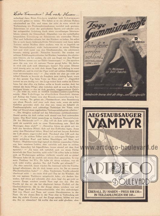 """Artikel:Paula, Anna, Liebe Freundin! Ich rate Ihnen… .Werbung:""""Trage Gummistrümpfe – Deine Beine werden schlank!"""", die Weltmarke mit dem """"R"""" im Dreieck&#x3B;AEG-Staubsauger Vampyr zum Preis von 130,- RM oder in Teilzahlungen 140,- RM."""