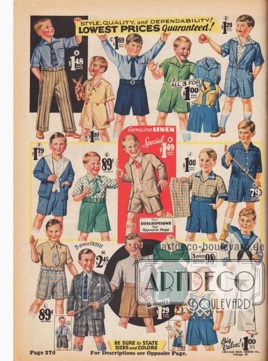 Spielanzüge für Jungen mit fast ausschließlich kurzen Hosen.