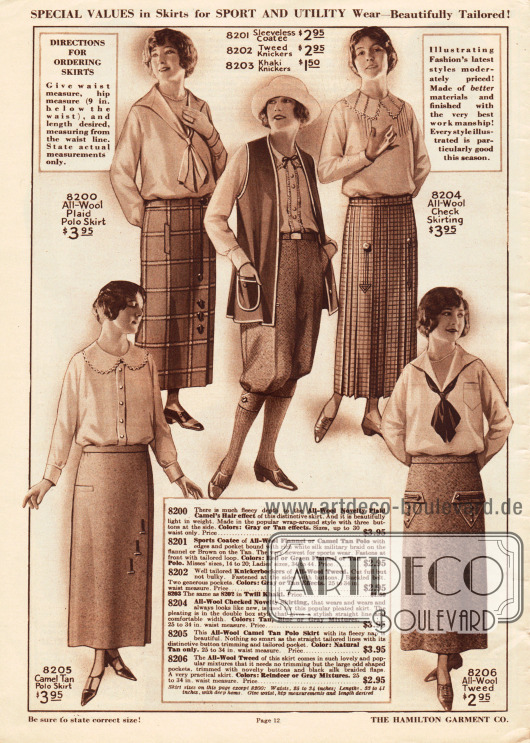 Röcke für verschiedne Gelegenheiten, wie z.B. Sport, aus grob kariertem, kamelhaarartigem Woll-Polo, Woll-Baumwollgewebe und Woll-Tweed. Drei Röcke besitzen eingearbeitete Taschen. Ein Modell ist großzügig plissiert (8204).In der Mitte der Seite werden zudem eine ärmellose, lange Weste aus Woll-Flanell sowie eine Knickerbockerhose aus Woll-Tweed oder wahlweise Khakistoff angeboten.
