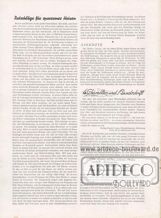Artikel: Klein, R., Ratschläge für sparsames Heizen; O. V., Anekdote; Verlag Gustav Lyon, Graphologische Abteilung, Charakter und Handschrift.