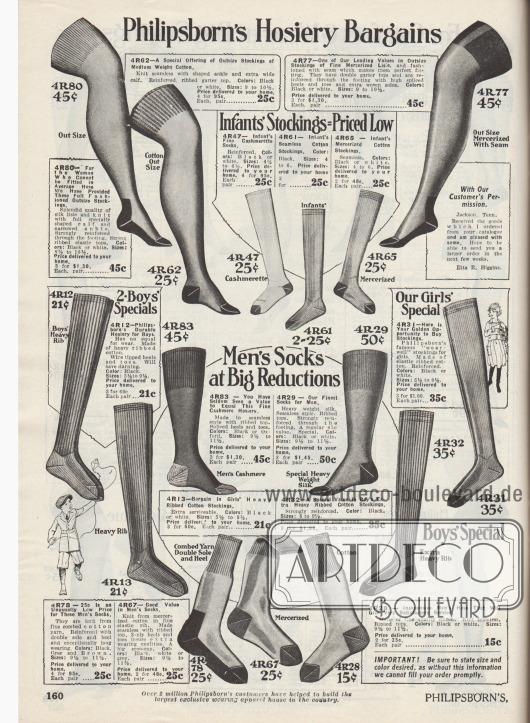 """""""Philipsborn's günstige Angebote in Strumpfwaren"""" (engl. """"Philipsborn's Hosiery Bargains""""). Oben befinden sich überknielange Strümpfe aus Seiden- oder merzerisiertem Baumwollgarn für Damen. In der Mitte und an den Seiten sind lange Strümpfe aus gerippter Baumwolle für Mädchen und Jungen verschiedener Altersstufen zu finden. Unten mittig werden schließlich Socken für Männer aus Kaschmirwolle, merzerisierter Baumwolle oder dicker Seide angeboten. Alle Strümpfe und Socken besitzen verstärkte Fersen und Zehen."""