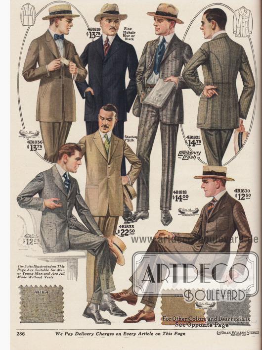 """Mondäne einreihige Herrenanzüge für die warmen und heißen Sommertage aus """"Palm Beach Cloth"""" (günstiger Mischstoff aus Angorawolle und Baumwolle oder Leinen), Mohair (Angorawolle), """"Coolkenny Crash"""" (überaus leichter Sommerstoff aus Wolle und Baumwolle) und Shantung Seide. Die modische Linie der Herrenmode für 1919 zeigt schmale, fallende Schultern, kurze, schmale Revers, eine hohe und enge Taillierung sowie enge und kurze Hosenbeine. Die Sakkos zeigen entweder großzügig eingearbeitete Taschen oder große aufgesetzte Taschen mit runden Kanten. Schluss auf zwei oder drei Knöpfe."""