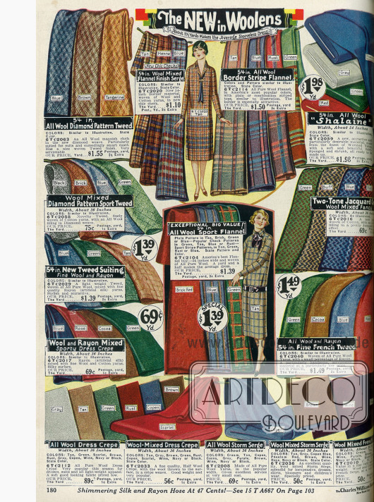 Wollstoffe wie Tweed, Flanell, Serge, Woll-Rayon, Wollkrepp und Jacquard.