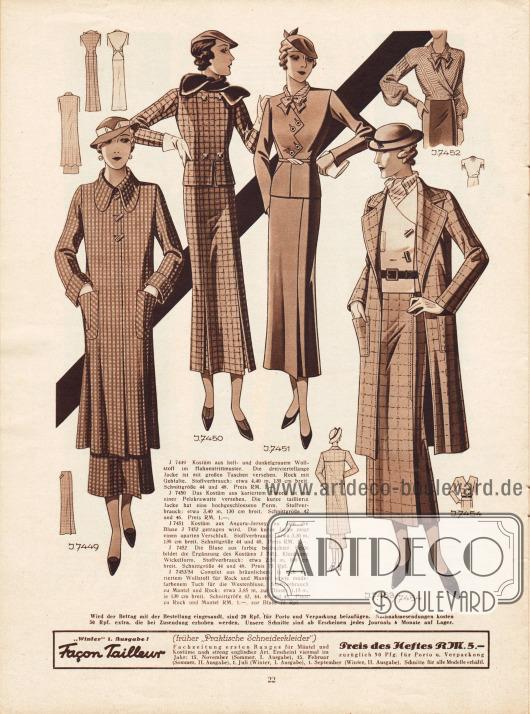 7449: Kostüm aus hell- und dunkelgrauem Wollstoff im Hahnentrittmuster. Die dreiviertellange Jacke ist mit großen Taschen versehen und der Rock mit einer Gehfalte.7450: Kostüm aus kariertem Tweed, dessen kurze Jacke eine hochgeschlossene Form aufweist und mit einer Pelzkrawatte versehen ist.7451: Kostüm aus Angora-Jersey, die zur nachfolgenden Bluse getragen wird. Die Jacke zeigt einen extravaganten, gezackten Verschluss.7452: Bluse aus farbig bedruckter Seide in kleidsamer Wickelform.7453: Complet (Ensemble) aus bräunlichem, in sich kariertem Wollstoff für Rock und Jacke und modefarbenem Tuch für die Westenbluse.