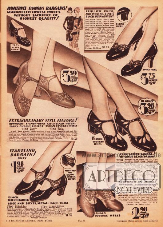 """Pumps, Schnallenschuhe und ein Sandalenmodell aus schwarzen Lackledern oder Kalbsledern. Ornamentale Ausstanzungen geben jedem Modell einen besonderen Stil und Charakter. Das Paar oben rechts ist mit zwei Strasssteinen besetzt. Die Kappen der Schuhe sind abgerundet. Niedrige Absätze, mittelhohe militärische und Kubanische Absätze sowie hohe schlanke Absätze (engl. """"spike heels"""") sind die modernen Absatzformen."""