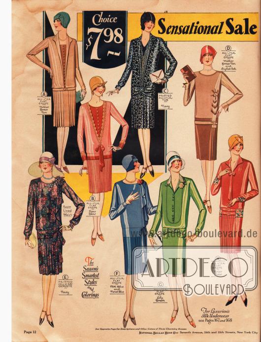 """Acht schlicht elegante Damenkleider aus Seiden Krepp und bedrucktem """"Cell O Ray""""-Georgette (neuartiges Material aus Kunstseide, Modell E). Jedes der Kleider ist für 7,98 Dollar erhältlich. Besonderer Beliebtheit erfreuen sich 1928 noch Kleider mit Westeneinsätzen und langgezogenen Kragen, wie man es hier an drei Modellen sieht. Die Röcke werden mit Faltengruppen, Quetsch- und Kellerfalten sowie durch die Verarbeitung von Plissees erweitert."""