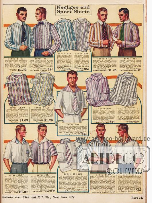 Gemusterte Anzughemden mit aufknöpfbaren Kragen und Sporthemden mit überbreiten Kragen.