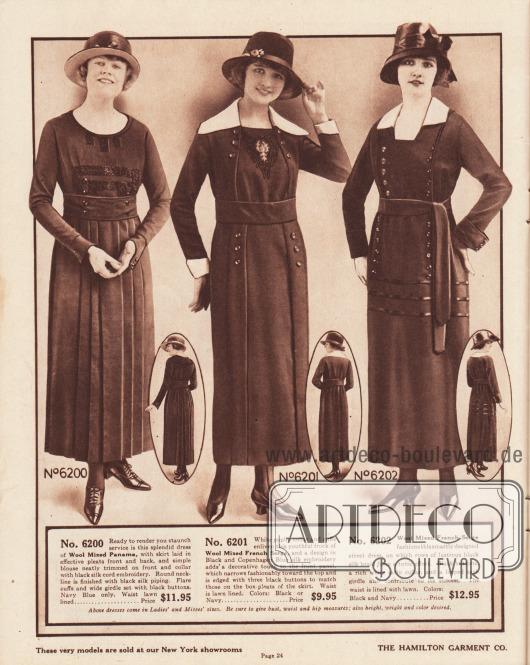 6200: Sehr günstiges Straßenkleid aus marineblauem Woll-Panama für Frauen. Der Rock ist rundum in tiefe Falten gelegt. Die Brust ist mit schwarzer Seiden-Kord Stickerei und Knöpfen verziert. Breiter Stoffgürtel sowie runder Halsausschnitt mit Einfassborte. 6201: Schlicht elegantes Damenkleid aus französischem Woll-Serge zum Preis von lediglich 9,95 Dollar. Das Kleid öffnet sich vorne breit. Unterhalb des breiten Stoffgürtels mit Knöpfen versehene Paneele, die Kellerfalten bilden. Auf der Brust befindet sich ein gesticktes Motiv aus schwarzer und kopenhagenblauer Seide. Breiter weißer Kragen aus Popeline. 6202: Günstiges Straßenkleid aus französischem Woll-Serge mit einem weißen Kragen aus Satin. Die vertikal angeordneten Knöpfe und Paspeln sowie die drei Reihen aus glänzender Tresse erzeugen einen Tunika-Effekt.