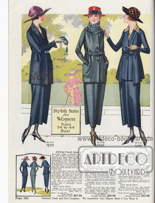 """""""Modische Kostüme für Frauen – Größen 86 bis 112 [cm] Brustumfang"""" (engl. """"Stylish Suits for Women – Sizes 34 to 44 [Inch] Bust""""). Drei mittel bis hochpreisige Damenkostüme für das Frühjahr aus französischer Woll-Serge, Woll-Jersey oder Woll-Popeline. Das erste Kostüm in Marineblau zeigt eine nur leicht taillierte Jacke in Etuiform. Schoß und Kragen sind reich mit Stickerei in der Kostümfarbe und abstechender Farbe bestickt. Schmaler Gürtel, eingelassene Taschen sowie glockige Ärmel mit Knopfgarnitur. Apartes Jackenfutter aus bunt gemusterter Seide. Die Kostümjacke des zweiten Modells zeigt aufgesetzte, große Taschen, invertierte Schulterbiesen und einen schmalen Überkreuzgürtel. Das Kostüm ist wahlweise in den Farben Braun-Heidekraut (engl. """"brown heather mixture""""), Blau-Heidekraut oder Grün-Heidekraut bestellbar. Das dritte Kostüm zeigt den 1920 beliebten Smokingkragen (""""tuxedo collar"""") und einen seidenen, gemusterten Überkragen. Seitliche, mit Knöpfen garnierte Schöße laufen in der Front spitz zu und überlappen den Jackensaum."""