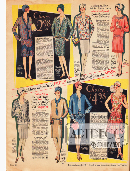 """Einfache, schlichte Tageskleider für junge Damen. Die Kleider sind aus bunt bedrucktem Schleierstoff, leinenartigem Gewebe, bedrucktem und unifarbenem Leinen, Satin, importiertem Seidengewebe, Rayon """"Glow-Sheen"""" Krepp und bedrucktem Organdy. Präsentiert werden ein Mantelkleid (zweites Modell von oben), ein unifarbenes Kleid mit bunter Jacke (drittes Modell von oben), ein Kleid mit von Hand ausgearbeiteter Smokarbeit (viertes Kleid von oben), ein Sportkleid mit Jacke (erstes Kleid unten links) und ein Bolerokleid (drittes Kleid von unten)."""