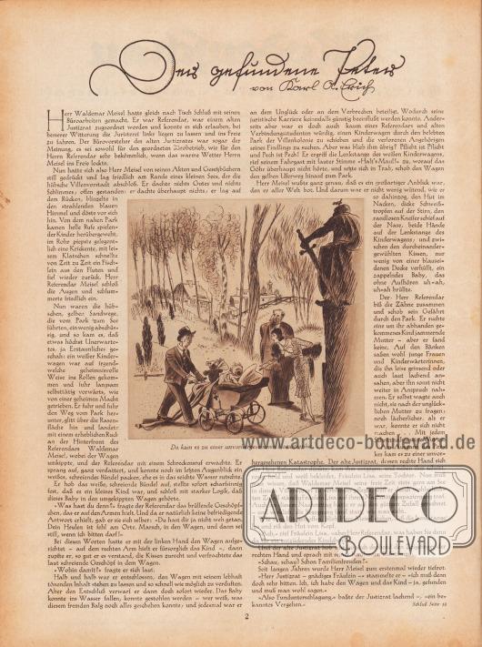 Artikel: Erich, Karl A., Der gefundene Peter (von Karl A. Erich, unbekannter Autor).  Die Zeichnung zur Geschichte zeigt einen peinlich berührten Herrn, der einen Kinderwagen mit einem schreienden Baby durch einen Park schiebt, während eine Dame ihm freundlich zuredet. Neben der Dame steht ein grimmiger, älterer Herr. Zeichnungen/Illustrationen: unsigniert, höchstwahrscheinlich Hans Ewald Kossatz (1901-1985). [Seite] 2
