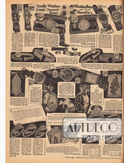 Fein gearbeitete Armbanduhren, Armreife, Eheringe und Handtaschen aus Metallketten für Damen. Unten in der Mitte wird zudem eine Kosmetiktasche mit Puderdose präsentiert.In der Mitte der Seite werden außerdem Armbanduhren und Taschenuhren für Männer angeboten.