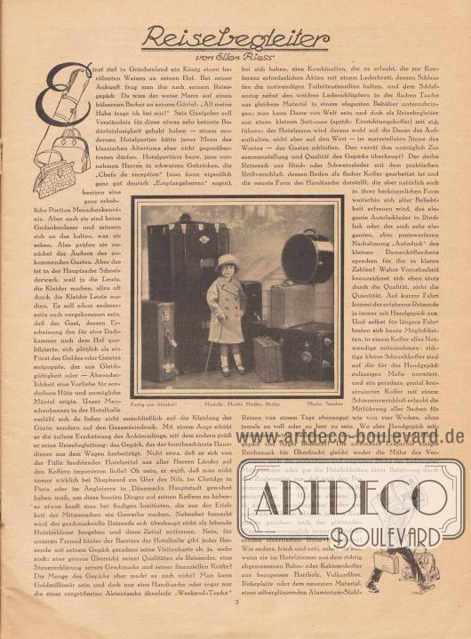 """Artikel: Riess, Ellen, Reisebegleiter (von Ellen Riess, unbekannte Autorin).  In der Mitte des Artikels ist eine Fotografie abgebildet. Sie zeigt ein kleines Mädchen mit Hut, doppelreihigem Mantel und Gehstock zwischen aufgestapelten Überseekoffern, Gepäck, Reisekoffern und Hutschachteln stehen. Die Bildunterschrift lautet """"Fertig zur Abfahrt!"""", Modelle: Moritz Mädler, Berlin. Foto: Sandau. [Seite] 3"""