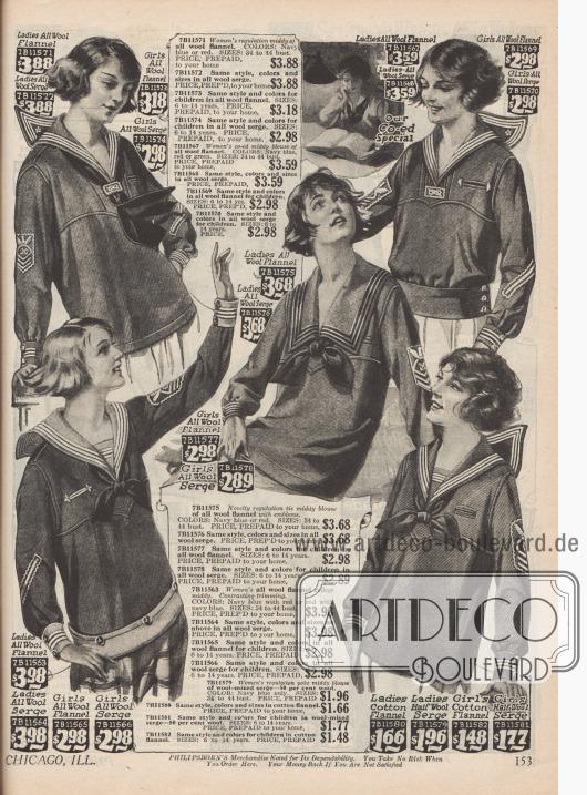 Legere Pullover im Matrosenstil für junge Frauen und Mädchen. Woll- Flanell, Woll-Serge und Baumwoll-Flanell sind die verwendeten Stoffe.