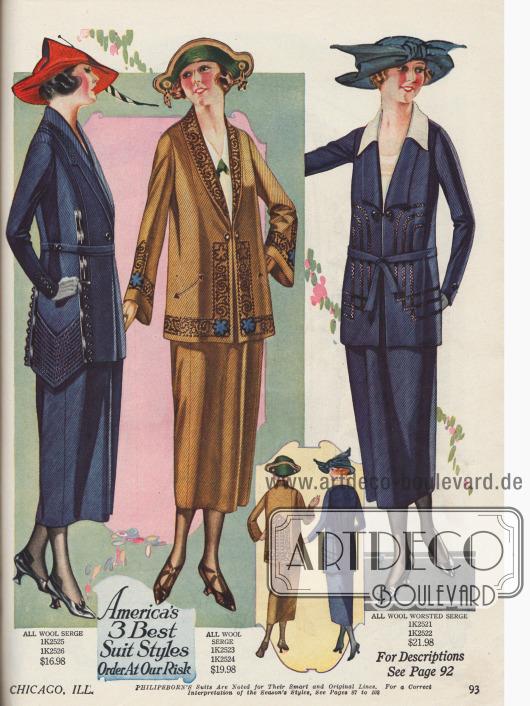 Kostüme für die Dame aus Woll-Serge deren Jacken etwa hüftlang geschnitten sind. Kunstvoll gestickte Nahtfiguren und Ornament geben jedem Kostüm eine individuelle Note. Zudem sind auch hier die Kragen unterschiedlich gearbeitet. Das Modell links zeigt einen spitzen Borteneinsatz.