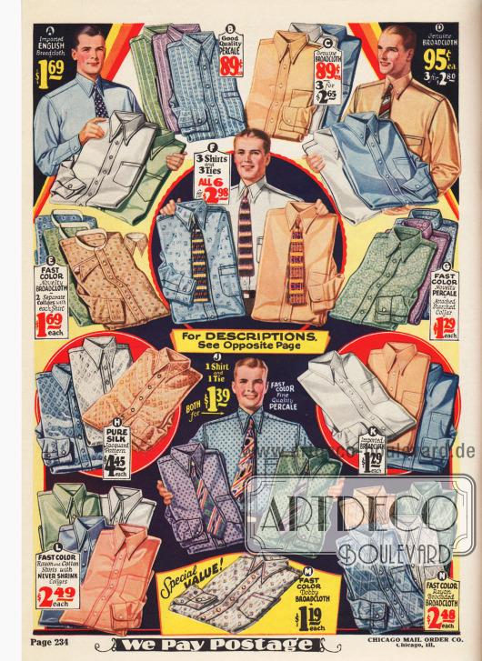 Anzughemden für Herren mit Brusttasche aus (teilweise importiertem) Breitgewebe, Perkal, Seide und Rayonmischstoffen in vielen Farben und Musterungen. Bei den Angeboten F und J können zu den Hemden auch passende Krawatten mitbestellt werden. Hemden mit separat anknöpfbarem Kragen (E) kommen langsam aus der Mode.
