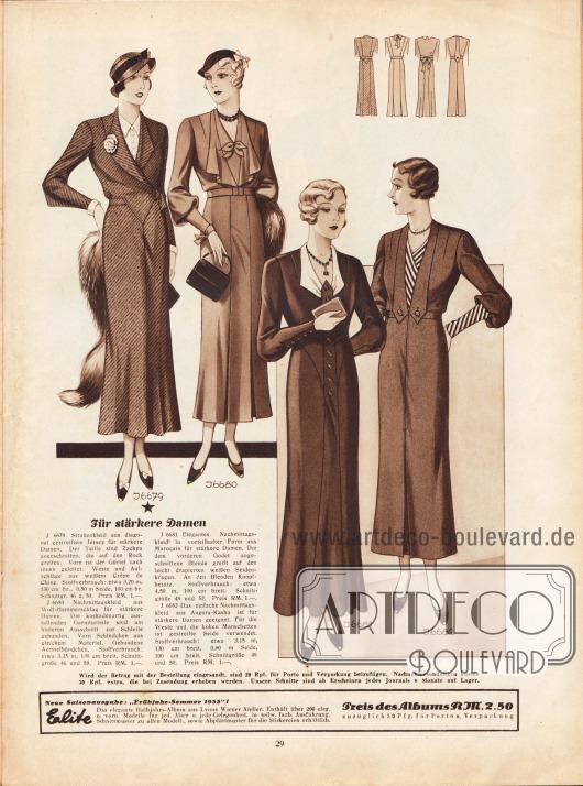 """""""Für ältere und stärkere Damen"""".6679: Straßenkleid aus diagonal gestreiftem Jersey für stärkere Damen. Der Taille sind Zacken angeschnitten, die auf den Rock greifen. Vorn ist der Gürtel nach innen geleitet. Weste und Aufschläge aus weißem Crêpe de Chine.6680: Nachmittagskleid aus Woll-Hammerschlag für stärkere Damen. Die kaskadenartig ausfallenden Garniturteile sind am hinteren Ausschnitt zur Schleife gebunden. Vorn Schleifchen aus gleichem Material. Gebundene Ärmelbündchen.6681: Elegantes Nachmittagskleid in vorteilhafter Form aus Marocain für stärkere Damen. Die dem vorderen Godet angeschnittene Blende greift auf den leicht drapierten weißen Seidenkragen. An den Blenden Knopfbesatz.6682: Das einfache Nachmittagskleid aus Angora-Kasha ist für stärkere Damen geeignet. Für die Weste und die hohen Manschetten ist gestreifte Seide verwendet."""