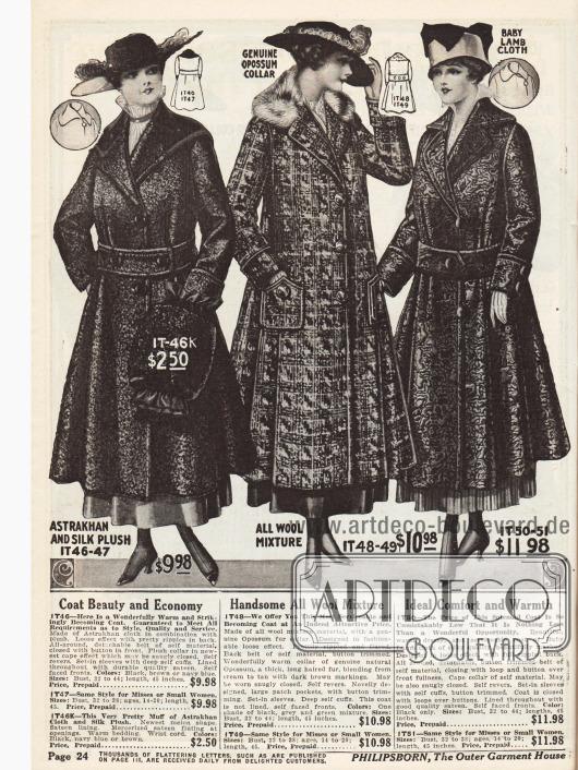 """Wintermäntel für Damen aus """"Astrakhan"""" (also Persianer, Breitschwanz oder auch Karakulschaf) und Seiden-Plüsch, einem Wollmischstoff mit Opossumpelz und Breitschwanzfell. Der erste Mantel wird mit einem passenden Muff geliefert."""