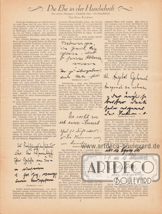 Artikel:Brückner, Hans, Die Ehe in der Handschrift. Der verliebte Bräutigam - Glückliche Ehen - Der Pantoffelheld.Der Artikel ist mit zehn beispielhaften Handschriften anschaulich ergänzt.