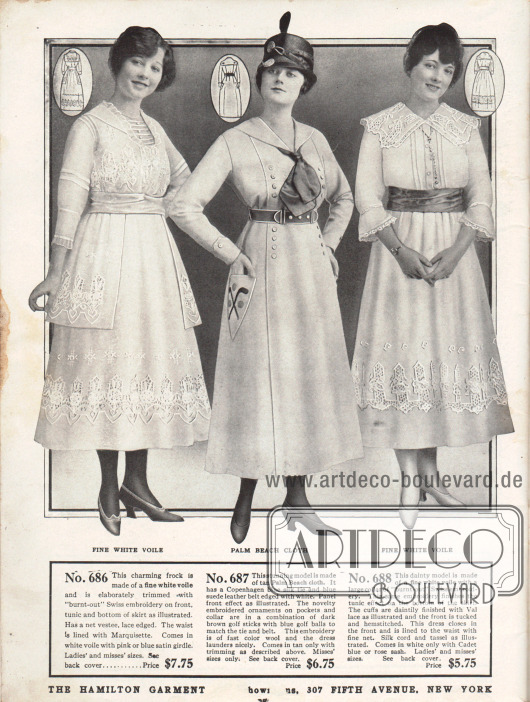 """Günstige Sommerkleider für Frauen aus weißem Schleierstoff und """"Palm Beach cloth"""" (günstiger Mischstoff aus Angorawolle und Baumwolle oder Linen). Das erste sommerliche Kleid zeigt eine Tunika, dreiviertellange Ärmel und einen Westeneinsatz aus Spitze. Die Bluse ist mit Marquisette gefüttert. Tunika, Rocksaum und Bluse sind mit großflächiger Hohlsaumstickerei verziert. Das mittlere Kleid präsentiert Zierknöpfe und dekorative Stickereien auf den Taschen mit Golfschlägern und Bällen. Krawatte und Gürtel sind farblich abgestimmt. Wie das erste Kleid ist auch das dritte Modell mit reichlich Schweizer Hohlsaumstickerei verziert. Zusätzliche Stickereien und Spitze an Kragen und Ärmeln geben diesem Kleid ein distinguiertes Aussehen."""