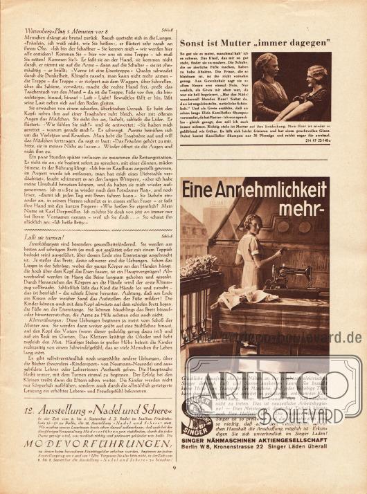 """Artikel:Schotte, Paul, Wittenberg-Platz 5 Minuten vor 8&#x3B;Zehden, Melitta, Laßt sie turnen!Werbung:12. Ausstellung """"Nadel und Schere"""" vom 2. bis 6. September 1933 in Berlin&#x3B;Elida Kamilloflor Shampoo&#x3B;Singer Nähmaschinen AG, Berlin."""