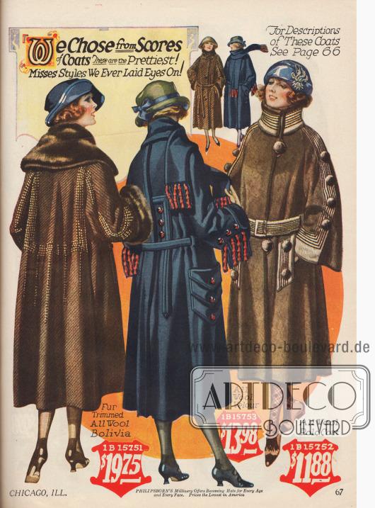 Wadenlange Wintermäntel für junge Frauen bis 20 Jahre aus Wolle und Woll-Velours. Weiter Schnitt, glockige Ärmel und groß geratene Detail gehören zur Herbstmode 1922-23.