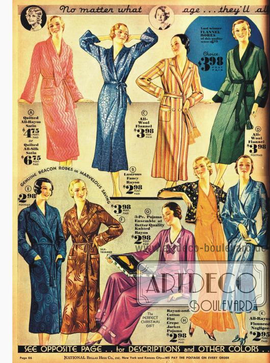 Bademäntel, elegante Morgenroben und Pyjamas für die modebewusste Frau.