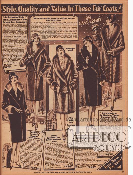 Luxuriöse Pelzmäntel für Frauen ab 87,50 bis 197,50 Dollar. Die verarbeiteten Pelze stammen von Lamm, Robbe, Opossum (Beutelratte) und Bisamratte.