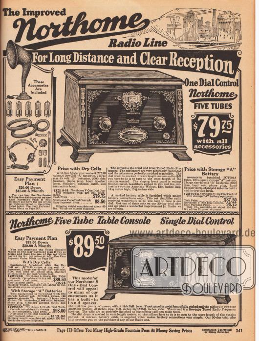 """""""Die verbesserte Northome Radio-Produktlinie für weite Entfernungen und klaren Empfang"""" (engl. """"The Improved Northome Radio Line For Long Distance and Clear Reception"""").Oben ein Radioempfangsgerät mit abgeschrägter, dunkel ornamentierter Frontpaneele für 79,75 Dollar mit Trockenbatterien oder für 87,50 Dollar mit zwei großen wiederaufladbaren Batterien – viele ländliche Haushalte waren noch ohne Stromanschluss. Bei Ratenzahlungskauf war das Radio rund zehn Dollar teurer. Als Zubehör wurden ein Lautsprechertrichter, fünf Radioröhren (Elektronenröhren Modell CT199 oder CT201A), eine 100 Ampere Batterie, zwei große 45 Volt """"B"""" Batterien, ein 2000 Ohm Kopfhörer mit Anschluss, eine Standardantenne und ein Handbuch mitgeliefert.Unten wird ein weiteres, schön gearbeitetes Radiogerät für den Tisch oder die Kommode offeriert. Das Gehäuse ist aus Walnuss und das schräge, schwarze Frontpaneel ist aus graviertem Metall. Das Radio besitzt außerdem einen eingebauten Lautsprecher."""