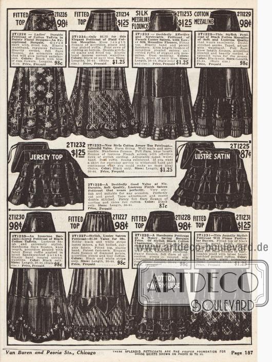 Petticoats (Damenunterröcke) mit Rüschen und Volants aus Baumwoll-Taft, Baumwoll-Messaline (Seidengewebe), glänzendem französischem Satin, Baumwoll-Jersey und Baumwoll-Charmeuse.