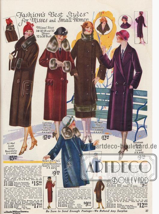 Mäntel aus Wollstoffen mit Pelzverbrämungen an den Kragen, Ärmeln und am Mantelsaum.Rechts zeigt sich ein zweireihiger Herrenpaletot für die Dame aus Samt Plüsch.