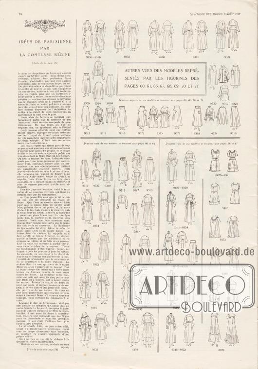Artikel: Comtesse Régine, Idées de parisienne par la comtesse régine. Auf dieser Seite befinden sich die Vorder- sowie die Rückansichten der Modelle der Seiten 60-61 und 66-71.