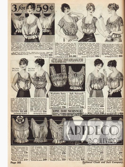 """""""Camisoles"""" (dt.: Damenuntertaillen) und """"Corset Covers"""" für Damen zum Tragen über oder unterhalb des Korsetts mit Spitzenbesatz."""