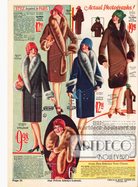 Seite mit kolorierten Fotographien. Mäntel mit reichen Pelzkragen und unten zwei Pelzschals aus Mufflon (Wildschaf) und importiertem Fuchs.