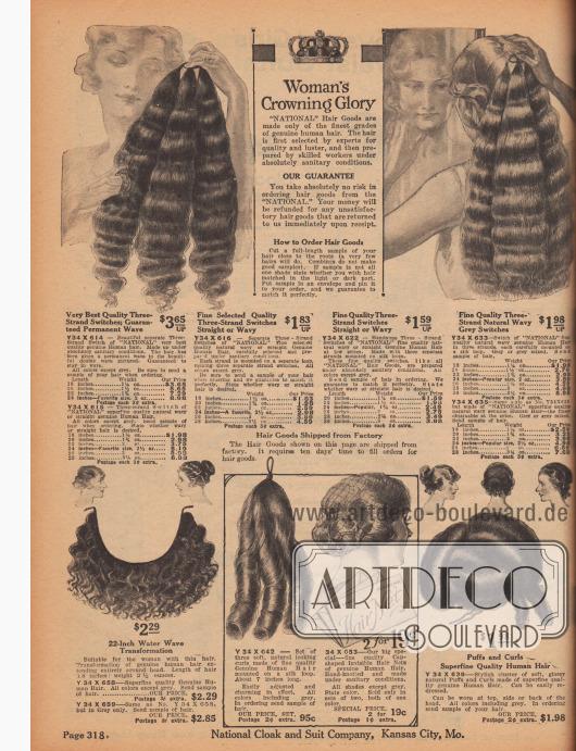 """""""Die glorreiche Krönung der Frau"""" (engl. """"Woman's Crowning Glory""""). Glatte, wellige oder in Dauerwellen gelegte, lange Haarteile, Haarschöpfe und Locken aus menschlichem Echthaar in verschiedenen Längen zum Anreichern und Verdichten der Frisur. Die bestellbaren Längen reichen von 7 bis 30 Inch (ca. 17,8 bis 76,2 cm). Alle Echthaarfarben sind möglich, auch Grau. Es wurde empfohlen ein kleines Stück Eigenhaar als Probe mit der Bestellung einzuschicken. Im Angebot ist ebenfalls ein Haarnetz."""