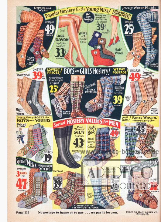 Warme Strümpfe und Socken für junge Frauen (oben), Mädchen und Jungen (Mitte) und Männer (unten). Die Strümpfe und Socken sind einfarbig, gestreift oder gemustert und aus Rayon, Wolle oder Baumwolle.