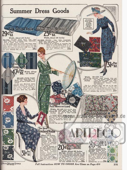 """""""Einige der neuesten sommerlichen Kleiderstoffe zum Nähen"""" (engl. """"[Some Late Styles in] Summer Dress Goods """"). Bunt bedruckte und gewebte, leichte, sommerliche Nähstoffe für Kleider in unterschiedlichen Musterungen wie Voile (Schleierstoff) mit Seidenstreifen, Voile mit Satinstreifen, Foulard-Taft, merzerisierter Foulard-Voile sowie bedruckter, gemusterter oder karierter Voile. Die Preise reichen von 25 bis 47 Cent und beziehen sich auf einen Yard (91,44 cm). Die Breite der offerierten Stoffe variiert zwischen 26 bis etwa 40 Inch (66,04 und 101,6 cm)."""