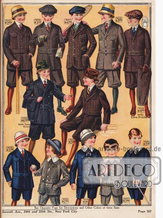 Strapazierfähige Freizeit- und Spielanzüge bestehend aus Norfolk-Jacke und Knickerbockerhose aus Woll- und Baumwoll-Kaschmire für Jungen von 4 bis 17 Jahren.