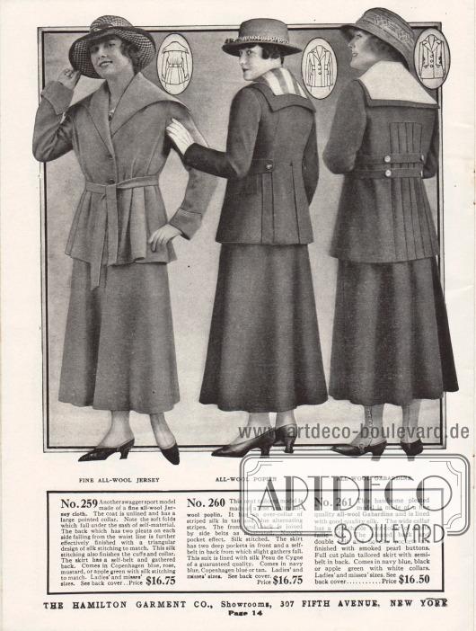 Kostüme des mittleren Preissegments für Damen. Die Kostüme sind aus Woll-Jersey, Woll-Popeline und Woll-Gabardine gearbeitet. Die Jacke des ersten Modells zeigt einen weit ausladenden Kragen, der beidseitig punktuell zuläuft. Die Weite der Jacke wird durch den Gürtel eingefangen, so dass der Schoß der Jacke tiefe Falten wirft. Das zweite Kostüm zeigt einen weiß gestreiften Garniturkragen, der dem eigentlichen Kragen aufliegt. Bestickte Taschenklappen, seitliche Gurte und Falten im hinteren Jackenschoß sind die weiteren Charakteristika. Das dritte Modell besitzt einen plissierten Falteneinsatz im Rücken und einen abnehmbaren weißen Kragen aus Seide.