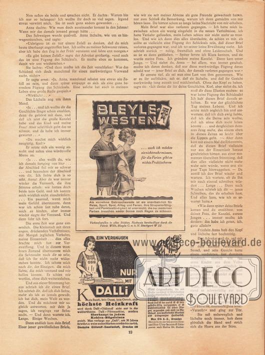 """Artikel: B., M., Die Fügung des Schicksals. Werbung: Bleyle Westen, """"vornehme Gebrauchsweste"""", Fabrik Wilh. Bleyle G. m. b. H., Stuttgart W 23; """"Ein Vergnügen nur mit Dalli"""", höchste Heizkraft mit der Dalli-Plättmaschine die mit Dalli-Glühstoff betrieben wird, Deutsche Glühstoff-Gesellschaft, Dresden 28; Elb's Essig Essenz reicht monatelang, Max Elb A.-G., Dresden."""