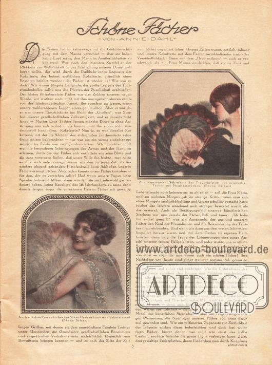 Artikel: Dahl, Annie, Schöne Fächer. Mit den Bildern zweier schöner Fächer aus Fantasiefedern und Straußenfedern. Fotos: Balász.