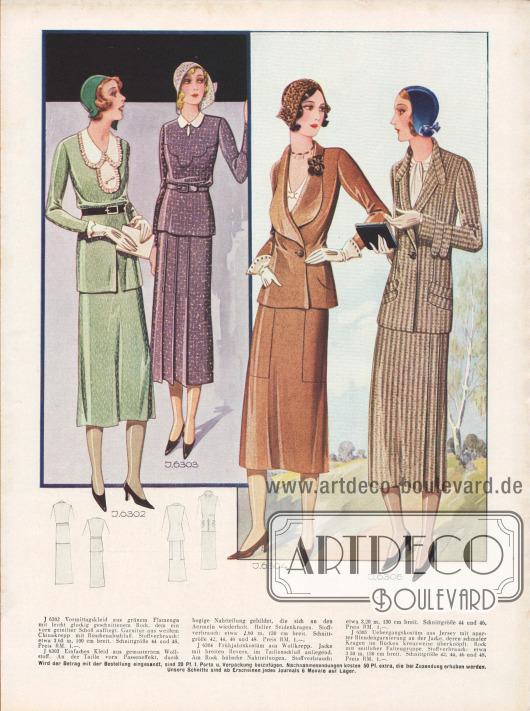 J 6302: Vormittagskleid aus grünem Flamenea mit leicht glockig geschnittenem Rock, dem ein vorn geteilter Schoß aufliegt. Garnitur aus weißem Chinakrepp mit Rüschenabschluß. Stoffverbrauch: etwa 3,65 m, 100 cm breit. Schnittgröße 44 und 48. Preis RM. 1.-. J 6303: Einfaches Kleid aus gemustertem Wollstoff. An der Taille vorn Passeneffekt, durch  bogige Nahtteilung gebildet, die sich an den Ärmeln wiederholt. Heller Seidenkragen. Stoffverbrauch: etwa 2,60 m, 130 cm breit. Schnittgröße 42, 44, 46 und 48. Preis RM. 1,-. J 6304: Frühjahrskostüm aus Wollkrepp. Jacke mit breiten Revers, im Taillenschluß anliegend. Am Rock hübsche Nahtteilungen. Stoffverbrauch: etwa 3,20 m, 130 cm breit. Schnittgröße 44 und 46, Preis RM. 1,-. J 6305: Übergangskostüm aus Jersey mit aparter Blendengarnierung an der Jacke, deren schmaler Kragen im Rücken kreuzweise überknöpft. Rock mit seitlicher Faltengruppe. Stoffverbrauch: etwa 3,50 m, 130 cm breit. Schnittgröße 42, 44, 46 und 48. Preis RM. 1,-. [Seite 26c]