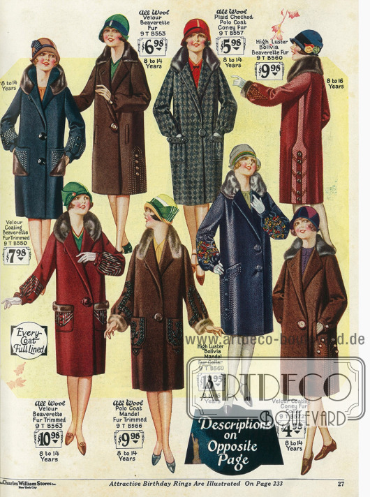 Mäntel für Mädchen von 8 bis 16 Jahren aus reinen Wollstoffen mit Pelzbesätzen. Großzügige Stickereien und große Knöpfe zieren die Mäntel.