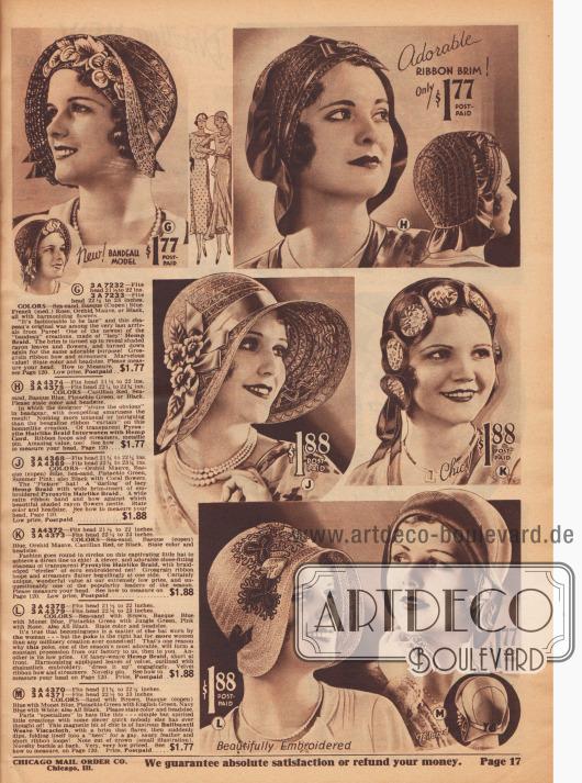 Doppelseite mit aufwendig verzierten Hüten für die Dame. Drei breitkrempige Modelle.