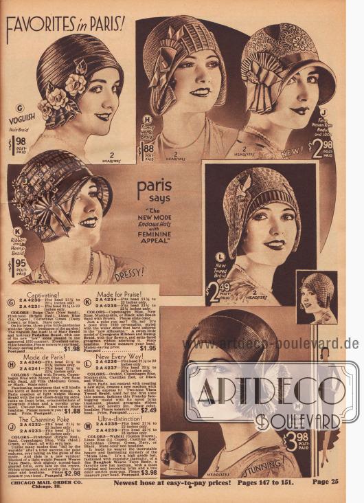 """""""Favoriten in Paris! Paris sagt 'Die neue Modelinie verleiht Hüten weibliche Anziehungskraft"""" (engl. """"Favorites in Paris! Paris says 'The New Mode Endows Hats with Feminine Appeal'""""). Schutenartige Glocken und Kappen sowie Hutmodelle mit Krempen, die an den Hutköpfen befestigt sind, aus Rosshaar, Pedaline-Stroh, Hanf, Toyo-Stroh (""""Peanit Weave Toyo Body"""") mit Écru-Spitze, Ripsband- und Hanf-Gewebe, zweifarbigem, tweedartigem Visca-Stroh oder Bangkok-Toyo-Stroh. Künstliche Gardenien und Blüten aus Stoff, Biesen, Ripsband-Applikationen und Ornamente, dekorative Hutnadeln, plissiertes Ripsband oder Pompons aus Straußenfedern dienen als Schmuckelemente und Aufputz."""