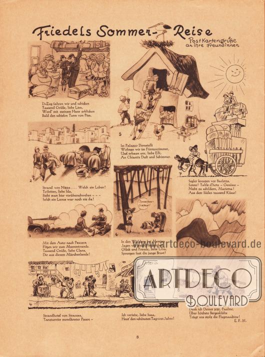 """Zeichnungen und kurze Reime zur Sommerfrische (Sommerurlaub) 1930: """"Friedels Sommer-Reise. Postkartengrüße an ihre Freundinnen"""".Zeichnungen: E. F. M."""