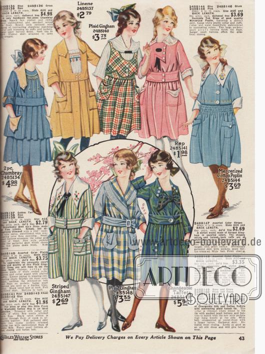 Fast kniekurze Kleider für Mädchen im Alter von 6 bis 14 Jahren mit großen Taschen, Kragen und weiten, Falten werfenden Röcken. Einzelne Modelle mit Reihenziehungen oder Stickereien. Die Kleidchen sind aus Chambray, Leinen, kariertem oder gestreiftem Gingham, Rep (Stoff in Ripsbindung, meist Baumwolle), merzerisiertem Baumwoll-Popeline sowie farblich changierendem Taft.